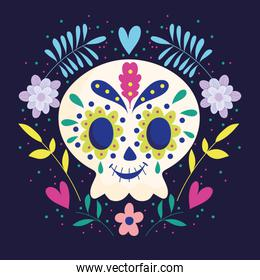 day of the dead, skull with wreath of flowers traditional mexican celebration