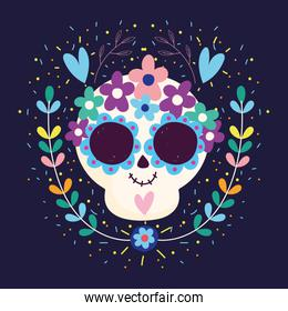 day of the dead, skull hearts flowers blossom traditional mexican celebration