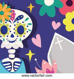 day of the dead, skeleton with coffin flowers hearts decoration traditional mexican celebration