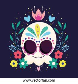 day of the dead, catrina skull flowers frame leaves traditional mexican celebration