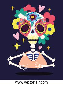 day of the dead, skeleton skull flowers decoration traditional celebration mexican