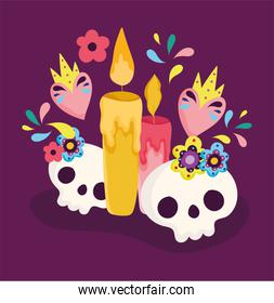 day of the dead, catrinas and candles with flowers decoration traditional celebration mexican