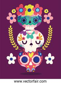 day of the dead, catrinas flowers decoration traditional celebration mexican