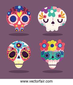 day of the dead, decorative sugar catrinas flowers culture traditional celebration mexican icons
