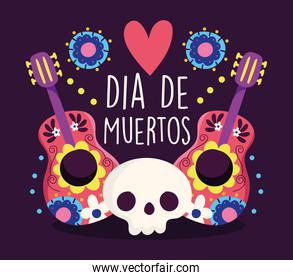 day of the dead, skull and guitars music heart flower decoration traditional celebration mexican