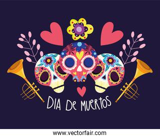 day of the dead, catrinas flowers trumpets hearts decoration traditional celebration mexican