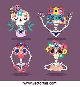 day of the dead, skeletons flowers characters decoration traditional celebration mexican
