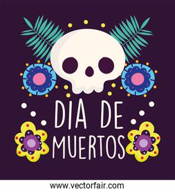 day of the dead, skull flowers branch ornament decoration traditional celebration mexican