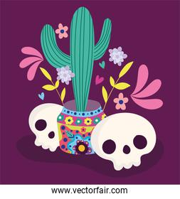 day of the dead, skulls and potted cactus flowers decoration traditional celebration mexican