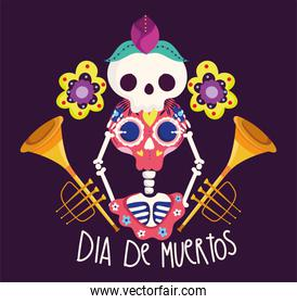 day of the dead, skeleton and skull trumpets musical flowers decoration traditional celebration mexican