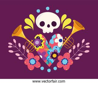 day of the dead, skull hearts flowers trumpet decoration traditional celebration mexican