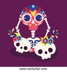 day of the dead, skeleton and catrinas flowers decoration traditional celebration mexican