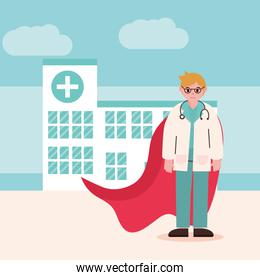 doctor hero, physician professional with glasses stethoscope and cape