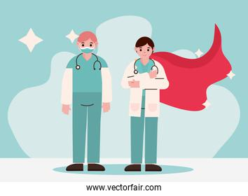 doctor hero, physicians professional staff with protective suits and cape