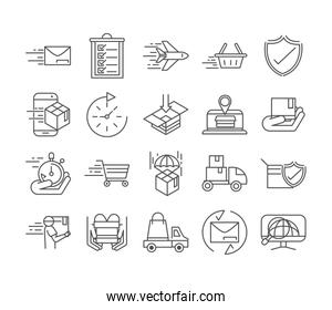 fast delivery cargo shipping commerce business icons set line style icon