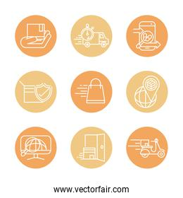 fast delivery cargo shipping commerce business icons set block style icon