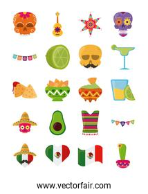 cinco de mayo mexican celebration festive party national icons set flat style icon