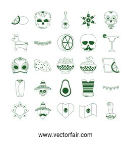 cinco de mayo mexican celebration festive party national icons set line style icon