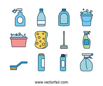 disinfection bottles and cleaning elements icon set, line fill style