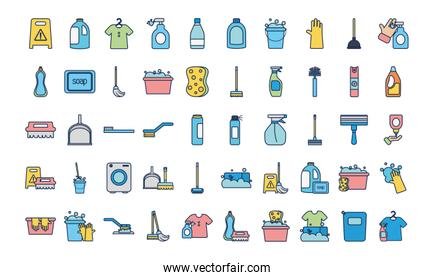 disinfection products and cleaning elements icon set, line fill style