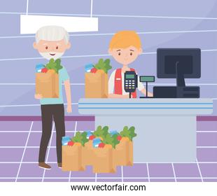 old man with many grocery paper bags waiting pay in cash register excess purchase