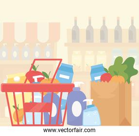 shopping basket and paper bag full food supermarket excess purchase