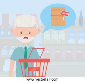 old man with shopping basket ,