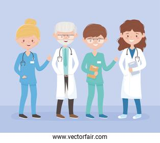 team medical staff professional practitioner cartoon character