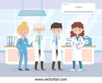 male and female physicians and nurse hospital medical staff professional practitioner cartoon character