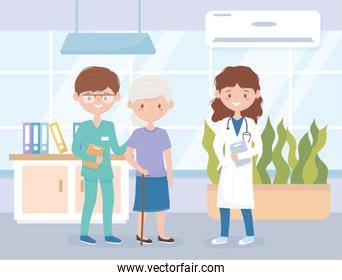 female physician male nurse and patient woman, medical staff professional practitioner cartoon character