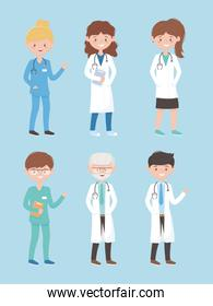physicians female male medical staff professional practitioner cartoon character