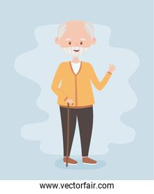 old people, senior man grandfather grandparent, mature person, cartoon character