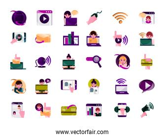 online activities, digital connection communication set icons flat style icon
