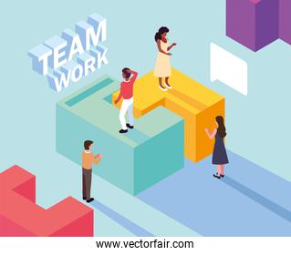 group of people with puzzle piece , teamwork