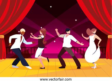 group of people on the dance floor, party, dancing club, music and nightlife