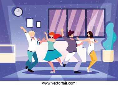 group of people dancing in home, party, music and nightlife