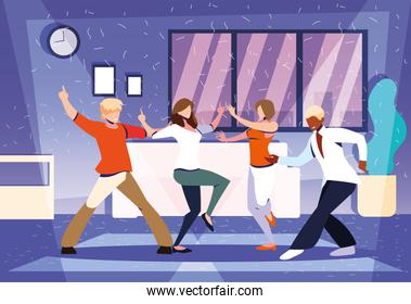 people dancing in home, party, music and nightlife