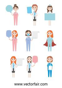 cartoon doctors women and medical staff icon set, flat style