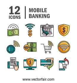 mobile banking shopping or payment market online, ecommerce icons set line and fill line and fill icon