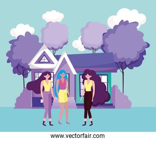 group women characters house and trees scenery design