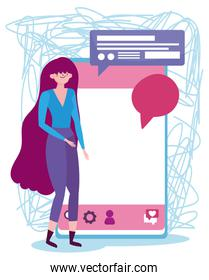 people and smartphone, young woman with mobile device speech bubble message