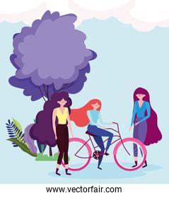 eco friendly transport, group with women and bike outdoors cartoon
