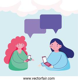 people and smartphone, women using mobile texting chatting cartoon