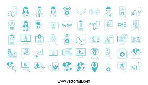 online doctor, physician technology consultant medical icons set, line style icon