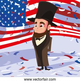 president abraham lincoln with flag usa , president day