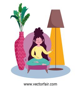 stay at home, young woman sitting sofa pose cartoon