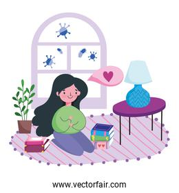 stay at home, young woman with books in floor living room cartoon
