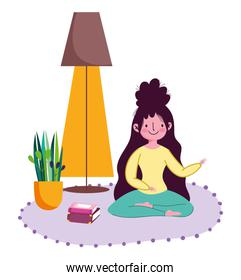 stay at home, young woman with books in floor lotus yoga pose cartoon