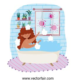 stay at home, cartoon young woman in bathtub leisure time