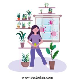 stay at home, young woman with plants in pots gardening leisure